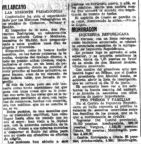 misiones pedagogicas en Villarcayo