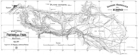 Plano-con-el-proyecto-del-Pantano-del-Ebro-y-la-zona-de-influencia