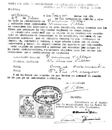 constitución del sindicatode campesinos de Mena febre 1937